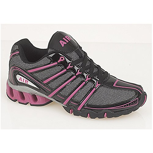 Dek Lady Air Raid Womens Shock Absorbing Running Trainers (5 UK, black/fuschia)