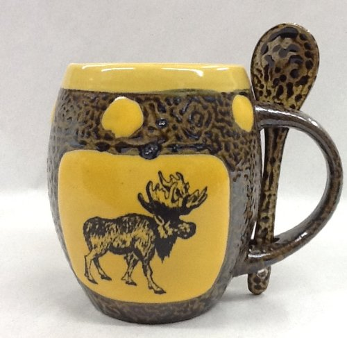 Moose Mug With Spoon In Dark Yellow