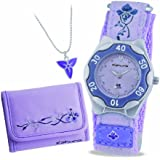 Kahuna Girl's Quartz Watch with Purple Dial Analogue Display and Purple Fabric Strap AKKS-0002F