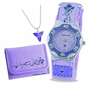 Kahuna Girl's Quartz Watch with Purple Dial Analogue Display and Purple Fabric Strap AKKS-0002F