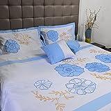Bella premium quality 400 tc cotton Designer 5 piece bedding set (blue, white, 233.68 Cm X 254 Cm)