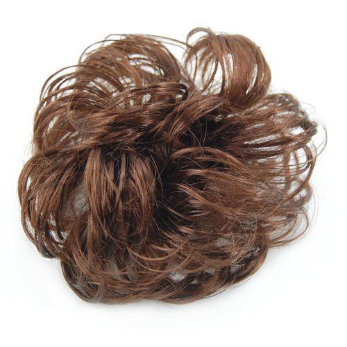 LE Long Curly Brown Hair Wig Ponytail Holder Scrunchie Hairpiece