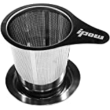 Ipow Brew-in-mug Teapot Extra Fine Mesh Tea Strainer Infuser Steeper with Lid and Handle for Loose Leaf Grain Tea Cups, Mugs, and Pots