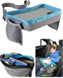 Kids Travel Play Tray Bag- Childrens Car Seat Buggy Pushchair Lap Tray (Blue)
