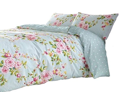 Find Cheap SUPERB COTTON FULL PINK BLUE ROSE FLORAL REVERSIBLE SHABBY DUVET COMFORTER COVER