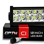 OPT7® C1 12 Off-Road LED Light Bar w/ Wire Harness and Switch - 72w Spot Flood Combo Auxiliary Lamp