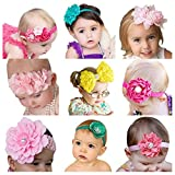 Jastore® Cute Baby Flower Headband Bow Hair Bands Newborn Headbands (9 Pack)