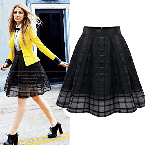 Tenwolrd Women Organza Skirts High Waist Zipper Ladies Tulle Skirt (L, Black)