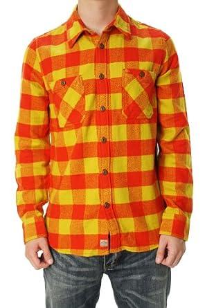 True religion men 39 s plaid flannel l s work wear shirt for Mens yellow plaid flannel shirt