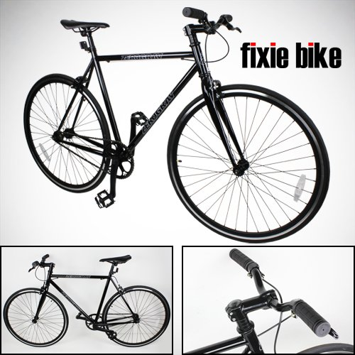 New NEW 54cm Black Fixed Gear Bike Single Speed Riser Bar Fixie Road Bike Track Bicycle