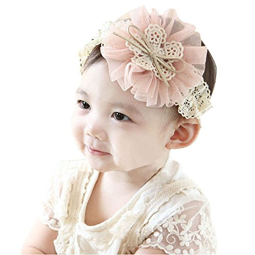 Sankuwen Hot Sale Kids Baby Lace Flowers Bow Ribbon Hair Wear Hairband (Pink)
