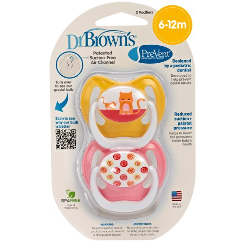 Dr. Brown'S Prevent Design Pacifier, Girls, Stage 2, 6-12 Months