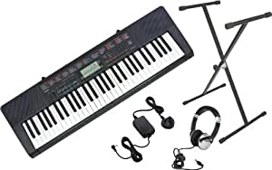 Casio LK-120AD key lighting portable keyboard package including Casio AC adaptor, LMS18B keyboard stand and Numark HF125 headphones