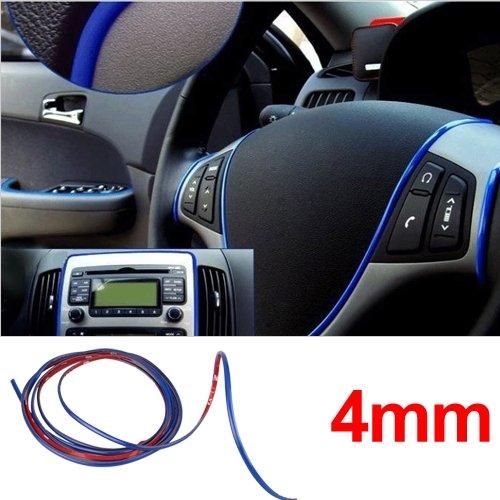 3m Blue Car Grille Exterior Chrome Styling Decoration Moulding Trim Strip 4mm