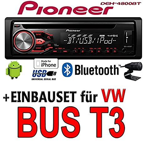 VW t3 bus-pioneer dEH - 4800BT-cD/mP3/uSB avec kit de montage