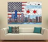 "Chicago American Flag Skyline (36"" x 24"")"