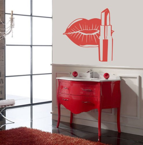 Housewares Vinyl Decal Cosmetics Lips Make Up Beauty Salon Home Wall Art Decor Removable Stylish Sticker Mural Unique Design For Room Shopping Window back-567865