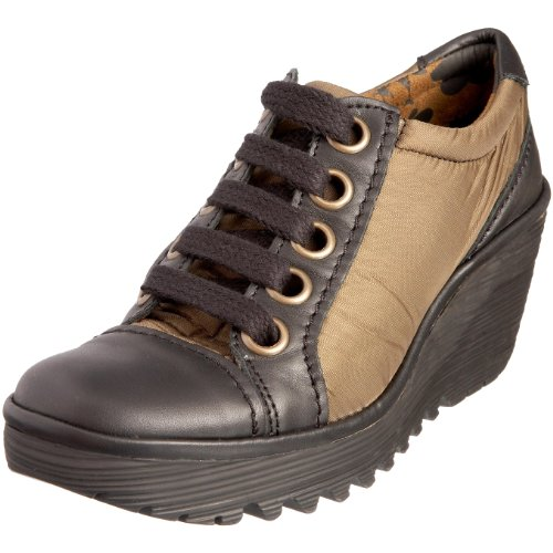 Fly London Women's Yves Wedge Trainer Nylon Black/Military
