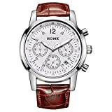 HOWK Men's Chronograph Quartz Watches with Date Analog White Luminous Dial...