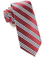 100% Silk Woven Burgundy Bar Striped Tie