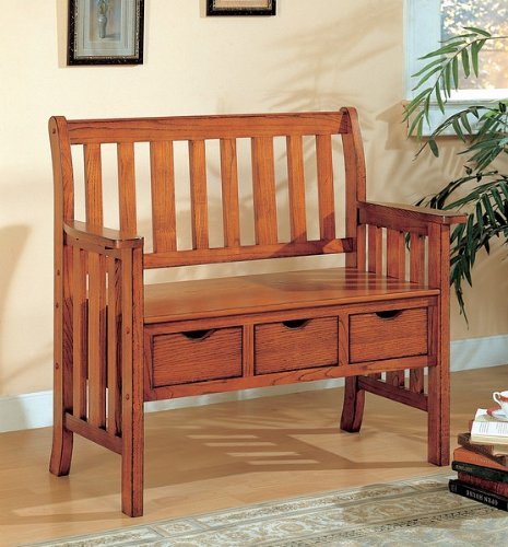 SEI Three Drawer Mission Oak Country Bench