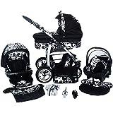 Chilly Kids Dino Cochecito de bebé combinado 3 en 1 - Cochecito de bebé y silla de paseo (protección contra la lluvia, mosquitero, adaptador de asiento de coche, ruedas giratorias, 55 colores)