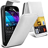( White ) Blackberry Bold 9790 Premium Faux Credit / Debit Card Slot Leather Flip Skin Case Cover & LCD Screen Protector Guard by Fone-Case