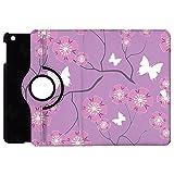 Butterflies on Purple Rotate Flip Folio Case for iPad 2 3 4 Mini, Kindle Fire, & Samsung Galaxy Note - Apple iPad Mini 1 Rotary Cover