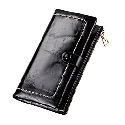 Kattee Women\'s Fashion Real Leather Zipper Wallet Card Bag Coin Case Phone Holder Black