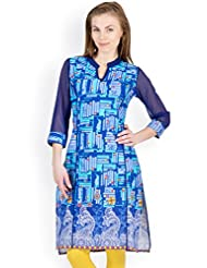 Ayaany Blue Color Printed Casual Kurta For Women