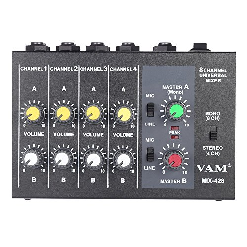 ammoon Ultra-compact Low Noise 8 Channels Metal Mono Stereo Audio Sound Mixer with Power Adapter Cable (8 Channel Stereo Line Mixer compare prices)