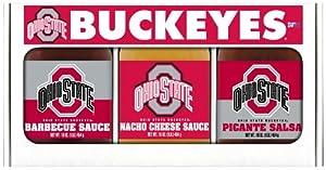 Ohio State Buckeyes NCAA Triple Play Gift Set (16oz BBQ Sauce, 16oz Picante Salsa, 16oz Cheeze Dip) by Hot Sauce Harry's
