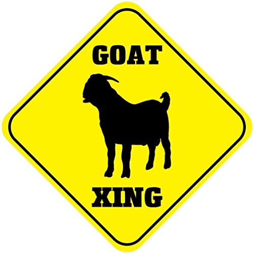Goat Crossing Funny Metal Aluminum Novelty Sign (Goat Display compare prices)