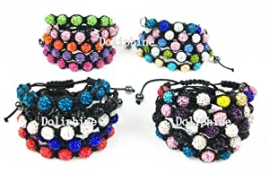 Bulk Pack of 20 different colors Shamballa bracelet jewelry 9pcs 10mm Crystal beads adjustable size