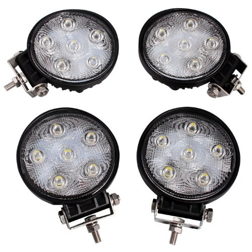 "4 Pcs 4"" 18W 1500Lm Round Led Work Driving Fog Spot Light Bar For Off-Road 4X4 Atv Utv"