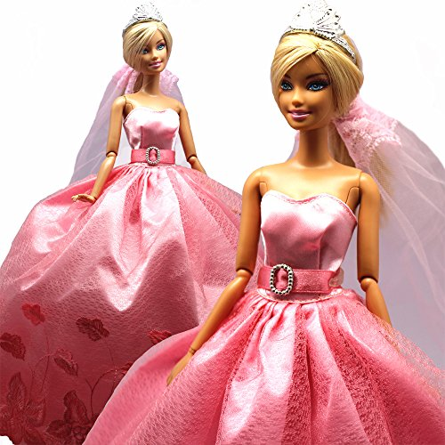 Princess Evening Party Clothes Wears Dress Outfit Set for Barbie Doll with Veil