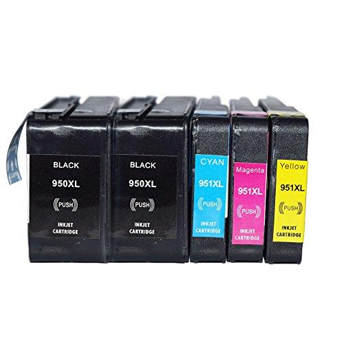 OGUAN HP950XL HP951XL Premium 5er Set Kompatible Tintenpatronen Als Ersatz für Hp 950 XL + HP 951 XL mit Chip und Füllstandsanzeige für hp officejet pro 8620 patronen (Schwarz , Cyan , Magenta , Yellow) 5x950- 951-hp