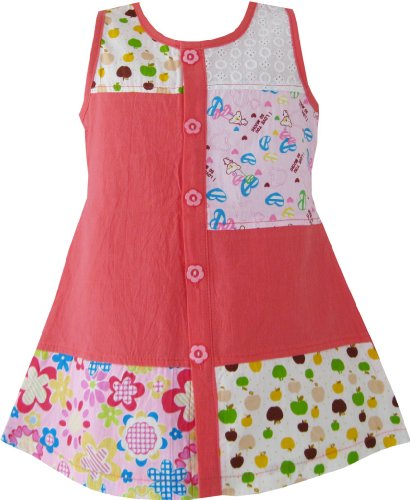 CE52 Girls Dress Pink Floral Fruit Pattern Cute