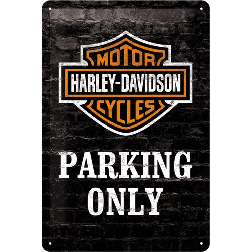 nostalgic-art-harley-davidson-parking-only-placa-decorativa-metal-20-x-30-cm-color-negro-y-naranja