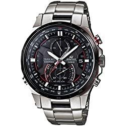 Casio Men's Edifice EQWA1200DB-1A Silver Stainless-Steel Quartz Watch with Black Dial