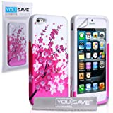 Yousave Accessories Silicone Floral Bee Gel Case for iPhone 5/5S - Pink/Whiteby Yousave Accessories