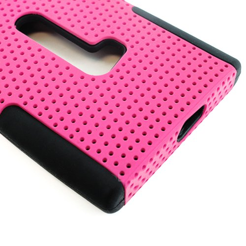 Mylife (Tm) Vibrant Ultra Pink And Dark Raven Black Perforated Mesh Series (2 Layer Neo Hybrid) Slim Armor Case For The Nokia Lumia 920, 920.2, 920T And 920 4G Camera Smartphone By Microsoft (External Rubberized Hard Shell Mesh Piece + Internal Soft Silic