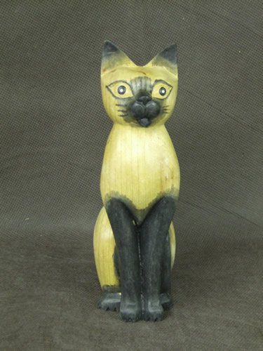Wooden Hand Carved Decorative Cat  Home Decoration