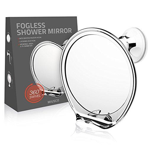 Miusco Doccia Anti-Appanamento Specchio Con Supporto Rasoio, Braccio Rotante Flessibile E Potente Ventosa Di Fissaggio, Cromato