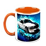HomeSoGood Car With Graphical Designs White Ceramic Coffee Mug - 325 Ml