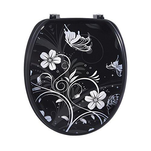 Carpemodo WC Sitz WC Deckel Klodeckel MDF robustem Holzkern Antibakteriell Scharniere verchromt Größe 43x36 cm edles Design Blumen