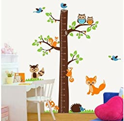 XXX Large Jungle Tree Growth Chart Decal for Kids Wall Art Sticker Removable 73x72 Jungle Owl Tree Decorative Height Chart Sticker Fox/owl/squirrel/hedgehog/birds by walldecorer