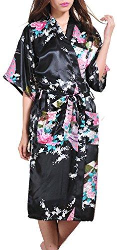 AMOMA Women's Satin Peacock Design Kimono Robe Long Sleepwear S~3XL