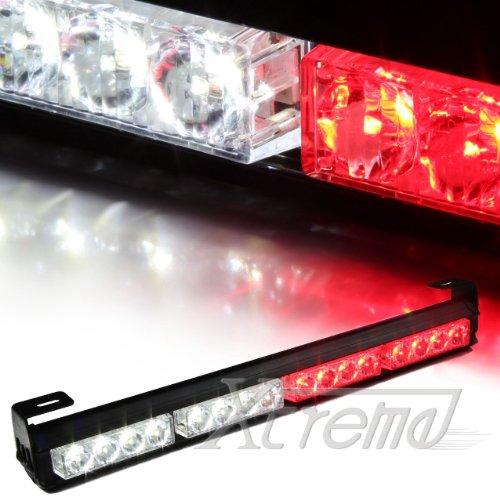 "Xtreme® 18"" 16 Led 7 Modes Rooftop Traffic Advisor Emergency Warning Vehicle Strobe Light Bar Kit (White/Red)"