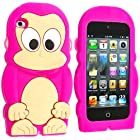iTitan Hot Vibrant Pink {Chimp Monkey} Soft and Smooth Silicone Cute 3D Fitted Bumper Gel Case for iPod 4 (4G) 4th Generation iTouch by Apple Durable and Slim Flexible Fashion Cover with Amazing and Creative Cartoon Design
